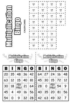 Free, printable Multiplication Bingo Cards (30) Math