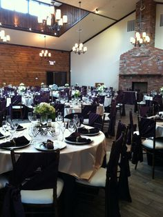Beautiful eggplant and camel matte satin linens, by Taylor Rental Plattsburgh, NY.  Contact Taylor Rental at 518-3214-5100 or www.taylorrentalny.com to inquire or make reservations for your wedding or special event.