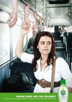 """Who's hand are you holding?"" - guerrilla advertising - bus - rail - grab - grasp"