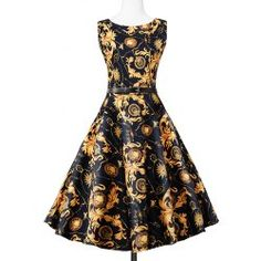 Knee Length Floral Sleeveless Vintage Dress