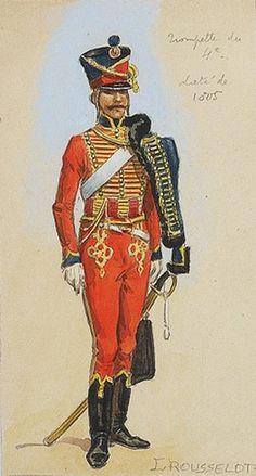 Aquarelle de Lucien Rousselot  Trompette du 4ème Régiment de Hussards.