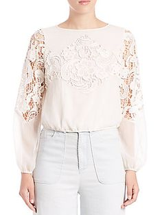Alice and Olivia Jenelle Lace-Detail Top
