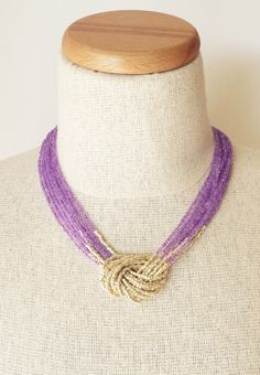 Purple and gold necklace, seed bead necklace,lilac necklace,knot necklace,beaded necklace,beaded choker,multistrand necklace,violet necklace by StephanieMartinCo on Etsy https://www.etsy.com/listing/217617883/purple-and-gold-necklace-seed-bead