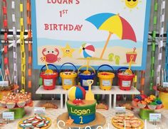 Gorgeous Beach birthday Party set up. Love all the little details - The cookies,. Gorgeous Beach birthday Party set up. Love all the little details – The cookies, the cake, the sa Beach Ball Birthday, Boy First Birthday, Boy Birthday Parties, Birthday Ideas, Birthday Gifts, Birthday Cake, Birthday Cookies, Summer Birthday, Beach Party Birthday