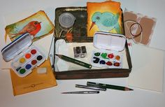 watercolor travel kit by art by kim the Ink Cat, via Flickr