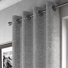 Glitter Sparkle Ring Top Voile Curtain Panel - Silver
