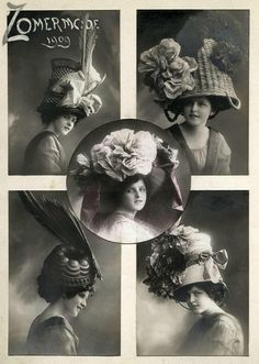 Hats. 1909. I'm pretty sure the lady on the lower left is wearing a bundt cake pan!