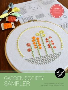 Garden Society Sampler hand embroidery pattern embroidery