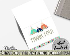 Thank You Card Baby Shower Thank You Card Tribal Teepee Baby Shower Thank You Card Baby Shower Tribal Teepee Thank You Card Green KS6AW - Digital Product #babyshowergames #babyshowerdecorations