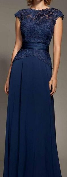 Cheap Dark Navy Blue Lace Cap Sleeve Chiffon Floor-Length Evenig Gown Mother Of The Bride Dresses Party Dress