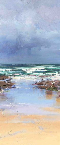 Ken Knight (contemporary) The Restless Sea Watercolor Landscape, Landscape Art, Landscape Paintings, Watercolor Paintings, Painting Art, Watercolour, Seascape Paintings, Indian Paintings, Oil Paintings