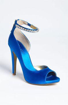 New Arrival! Nine West Jusskippy Sandal in Blue Satin. #Nordstrom #Shoes