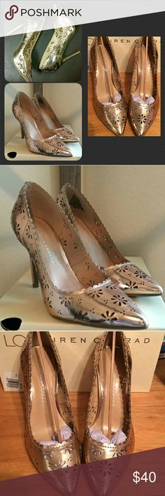 Lauren Conrad rose gold laser cut out heels sz 8 Beautiful rose gold heels by Lauren Conrad. These are perfect for the holiday season. Arrive to parties in style! Pretty laser cut floral design throughout the shoe. Brand new without box. LC Lauren Conrad Shoes Heels