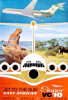 East African Airways - Jet To The Sun - Super VC 10 - 1960's - Travel Poster