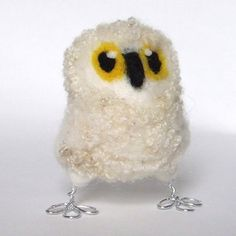 Cute and Fluffy Natural White Needlefelted Owl ... - Folksy