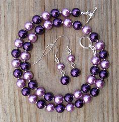 Punch of Purple Pearls Necklace and Earrings Set door designsbydeena, $27.00