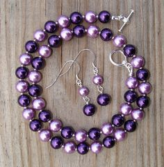 Punch of Purple Pearls Necklace and Earrings Set by designsbydeena, $25.00