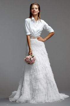 "White tiered skirt with chapel train and belt | ""Milada"" (skirt) by Watters Brides"