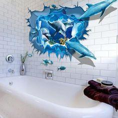 Stickere de perete din gama DIY, model 3D, cu un banc de delfini si pesti, rezistent la apa, prietenos cu mediul, stickere detasabile, ce pot fi scoase sau schimbate