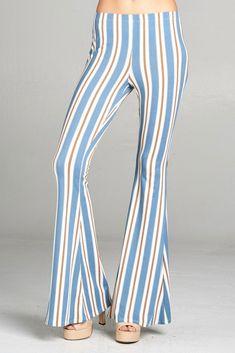 Our favorite denim stripe bell bottom pants. Bell Bottom Pants, Bell Bottoms, Printed Pants, Selling Online, Striped Pants, Bohemian, Denim, Fashion, Printed Trousers