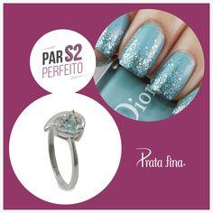 #ParPerfeito: azul, um toque de tranquilidade para seus dias.   Anel Zircônia Coração: http://pol.vu/zz