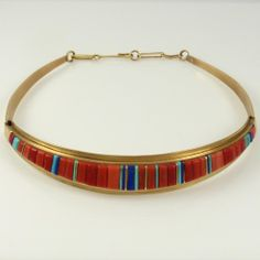 1980s Inlaid Gold Collar Necklace by Charles Loloma - Garland's Indian Jewelry