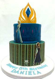 Disney Frozen cake - inspired by Anna and Elsa's dresses