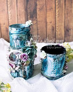 Mixed Media Jar Decor By Evgeniya Zakharova | Lindy's Stamp Gang