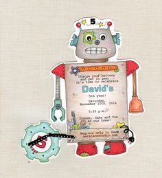Personalized and Handcut Invitations - Birthday Party Invitations - Robot Birthday Party - Set of 15 by sarajanestudio on Etsy https://www.etsy.com/listing/110238553/personalized-and-handcut-invitations