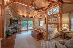 Meredith House - Yankee Barn Homes Log Home Bedroom, Farmhouse Master Bedroom, Log Cabin Bedrooms, Lodge Bedroom, Barn House Plans, Dream House Plans, Barn Plans, Cabin Homes, Log Homes
