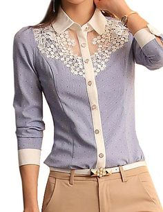 Women's Casual Lace Micro Elastic Long Sleeve Regular Blouse 2811580 2016 – $20.84