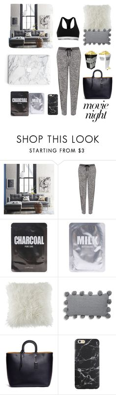 """""""Movie Night 🖤🎥"""" by lyndsey-eve-wampler ❤ liked on Polyvore featuring West Elm, Calvin Klein, Lapcos, BCBGeneration, Thro and Coach"""