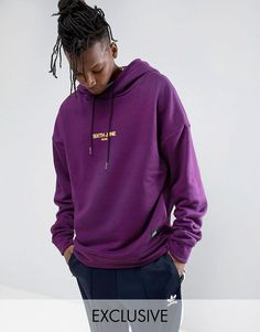 Sixth June Oversized Hoodie In Purple With Logo - Purple