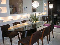 mesa de jantar oval em laca branca - Pesquisa Google Oval Table, Dining Table, Dining Rooms, Mesa Oval, Breakfast Nook, Furniture, Home Decor, Nova, Big