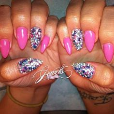 pink stilettos with multi bling