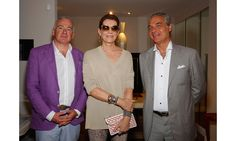 VIP guests flocked to the newly unveiled showroom, offering indoor and outdoor home essentials infused with a modern Parisian twist, during Art Basel Miami. Pictured here: Dominique Roitel, Martine Assouline, Pascal Zay. Miami Party, Art Basel Miami, Assouline, Party Pictures, Parisian, Showroom, Vip, Suit Jacket, Essentials