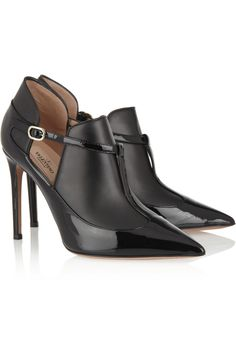 Valentino|Matte and patent-leather ankle boots.