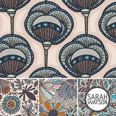 """sarah waton's  latest fabric collection is called indian summer, and is aten print collection, in two colourways.sarah describes it as""""..."""