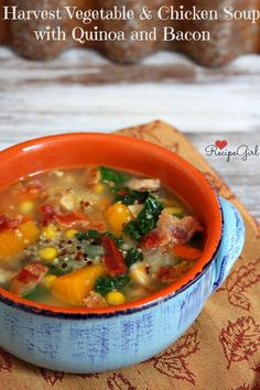 Harvest Vegetable, Chicken and Quinoa Soup with Bacon from RecipeGirl.com