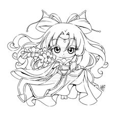 this is a chibichibi commission for it's her OC named li dong hua. Chibi Coloring Pages, Cute Coloring Pages, Coloring For Kids, Adult Coloring Pages, Coloring Books, Anime Lineart, Kids Stamps, Image Fun, Black And White Drawing