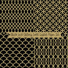 Just Peachy Designs: Free Black and Glittery Gold Digital Paper Set