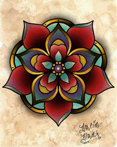 Mandala digital tattoo flash by Darin Blank. Instagram: @darinblanktattoos