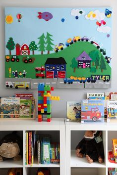 felt board in playroom - only mine will be framed out and removable/reversible, with either chalk board or dry erase board on opposite side