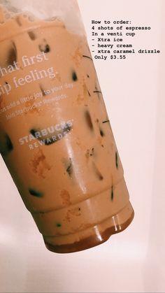 Espresso drink from Starbucks Tasty and strong Starbucks Hacks, Healthy Starbucks Drinks, Starbucks Secret Menu Drinks, Starbucks Recipes, Starbucks Iced Coffee, Yummy Drinks, Starbucks Rewards, Coffee Drink Recipes, Coffee Drinks