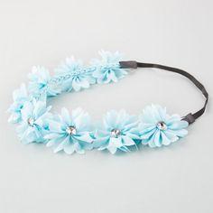 Full Tilt Chiffon Flower Headband Light Blue One Size For Women 21998722101