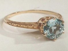 Antique Edwardian Tiffany Style 14K Gold Engagement Ring set with 6.5 mm 1 Carat Natural Aquamarine
