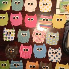 Some of my owls - classroom, Home made owls. they're all unique!