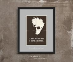 Printable wall art with ANDY WARHOL quote instant by iDownload, €4.35