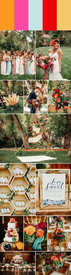 spring wedding color palette idea: tangerine + hot pink + pale turquoise + fire engine red + dusty ochre