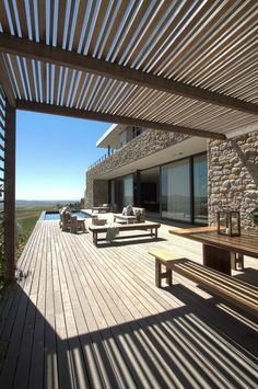 furnish your terrace with lots of outdoor furniture More - Modern Outside Living, Outdoor Living, Terrasse Design, Gazebos, Garden Design, House Design, Outdoor Spaces, Outdoor Decor, Outdoor Furniture